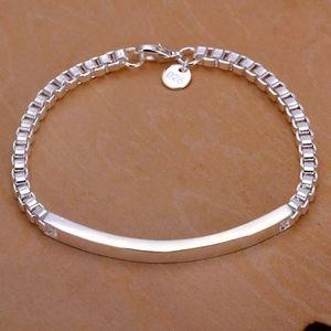 NEW 925 Sterling Silver Box Chain Bar ID Bracelet
